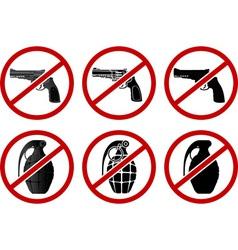 no pistols and grenades vector image vector image