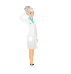 senior caucasian doctor scratching her head vector image