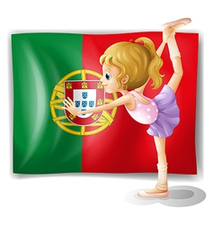 A young girl in front of the Portugal flag vector image vector image
