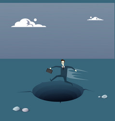 business man on island in sea water need help vector image vector image