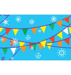 Christmas seamless border with flags vector image vector image