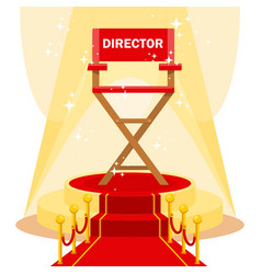 director chair on red carpet vector image vector image