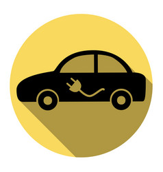 electric car sign flat black icon with vector image