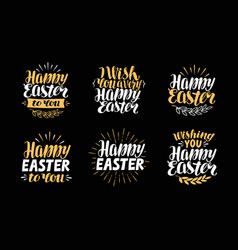 happy easter greeting card holiday label symbol vector image vector image