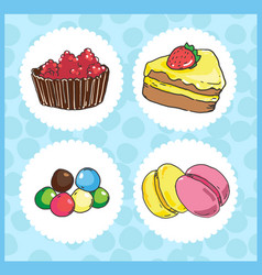 Icons of sweets with cake draggee macaroons vector
