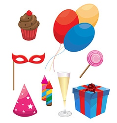 Party and Celebration Icons with White Background vector image vector image
