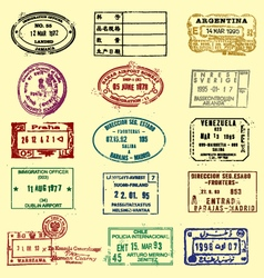 passports stamps vector image