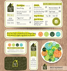 vegan healthy restaurant cafe set menu template vector image