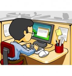 working in front computer vector image