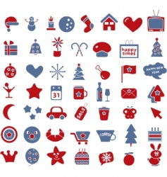 50 winter holidays signs vector image