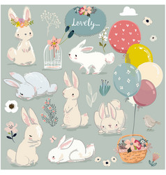 set of cute hares with balloons vector image vector image