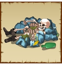 Skeleton in boots lies on the rocks with a bottle vector image vector image