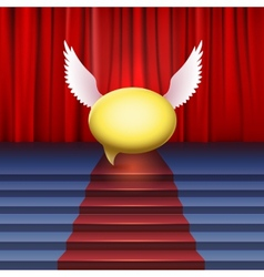 Stage with red carpet and bubble with wings vector image vector image