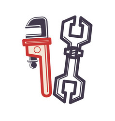 two adjustable wrenches in cartoon style flat vector image vector image