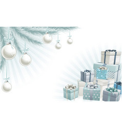 christmas silver blue corner elements vector image