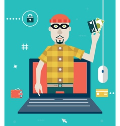 Concept of online fraud Hacking private account vector image vector image