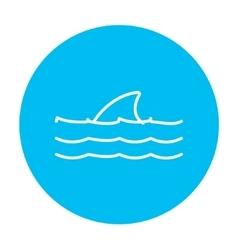 Dorsal shark fin above water line icon vector