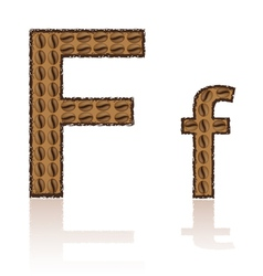 letter f is made grains of coffee isolated on whit vector image vector image
