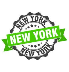 New york round ribbon seal vector