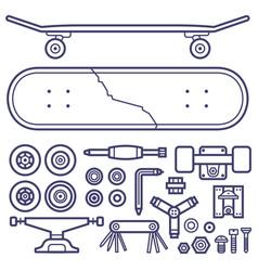 skateboarding repair icon set vector image