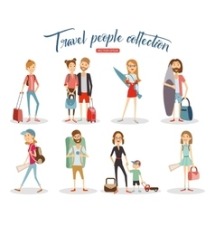 Travel people cartoon collection vacation people vector image vector image