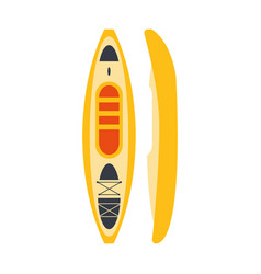 Yellow plastic kayak from two perspectives part vector