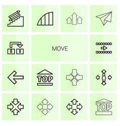 14 move icons vector