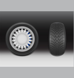 3d realistic black tire with tread vector image
