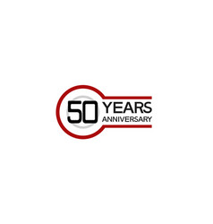 50 years anniversary with circle outline red vector