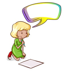 A young girl writing with an empty callout vector image