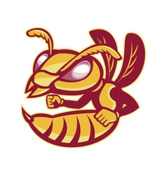 Angry female hornet mascot vector