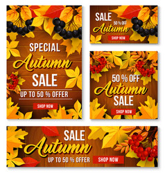 Autumn sale online discount poster banner vector
