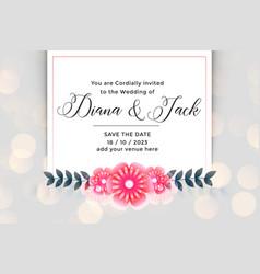 beautiful flower wedding invitation card design vector image