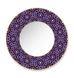 Blue decorative plate with gold pattern vector