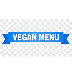 blue ribbon with vegan menu caption vector image