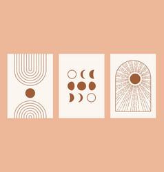 boho sun moon arch set minimalist mid century vector image