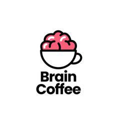 brain coffee logo icon vector image