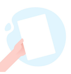 business man hand holding paper mockup empty vector image