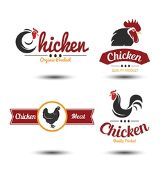 chicken label 3 vector image