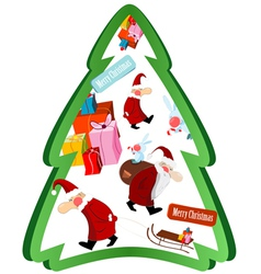 christmas tree with santa claus vector image