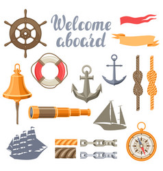collection nautical symbols and items vector image