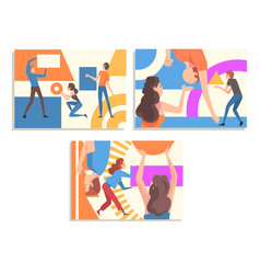Collection people organizing colorful abstract vector