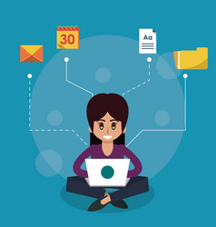 color background of woman sitting working in vector image