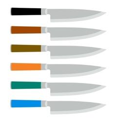 Color set steel kitchen knives vector