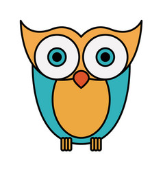 Colorful silhouette image owl bird vector