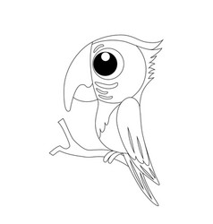 colorless funny cartoon parrot vector image