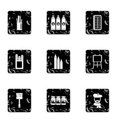 Creativity art icons set grunge style vector image
