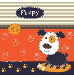 Cute baby background with dog vector image