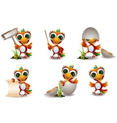 cute baby parrots cartoon set vector image vector image