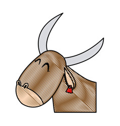 cute ox manger character design vector image